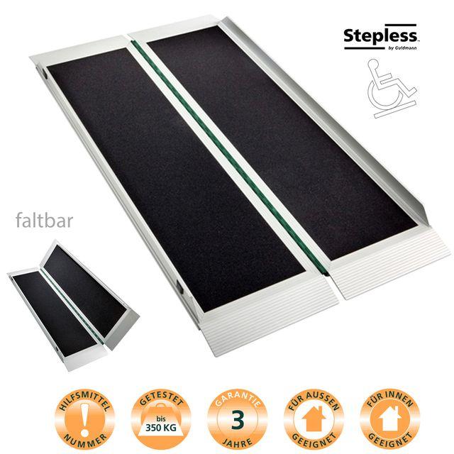 EasyFold Pro Rampe, robuste Aluminiumrampe bis 350kg, Kofferrampe ideal für elektrische Rollstühle und Elektromobile, breite Fahrfläche, faltbar (Maße 95 bis 210cm)
