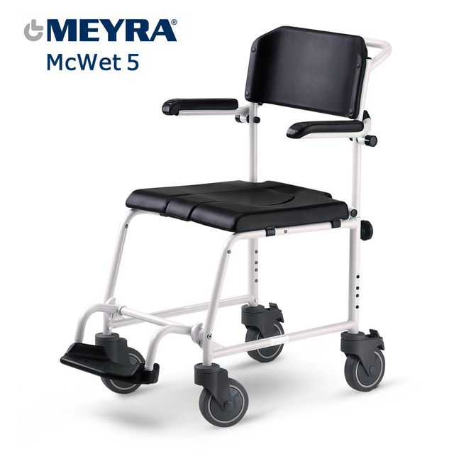 """Meyra MC-WET 5"""" Duschrollstuhl, Schiebeversion, auch als Toilettenstuhl einsetzbar, inkl. PU Polsterung, inkl. Eimeraufnahme, McWet lieferbar ab Ende Januar 2021"""