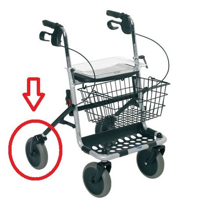 Invacare Ersatzrad für Banjo Rollator & Delta Gehrad Gehwagen