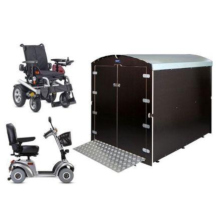 Rollabo XL (Plus) Elektrorollstuhl Garagenbox echte kleine Garage für Ihr Elektrofahrzeug, als XL oder XL+ mit 40 cm höherer Einfahrt
