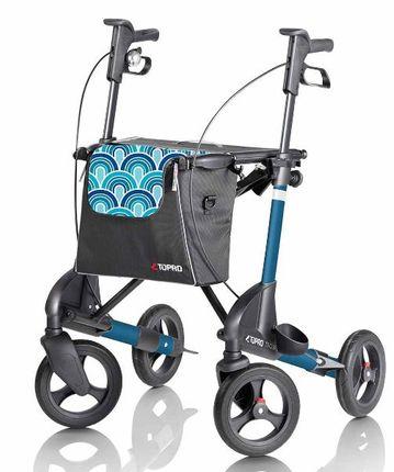 Topro Rollator Troja 2G Premium M, Capri Blau, IBS-Bremsen, inkl .Stockhalter