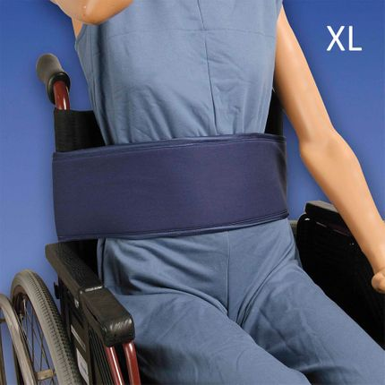 Biocare Basis Klett Rollstuhlgurt, XL blau, Patientensicherungssystem im Rollstuhl, mit Klettverschluß