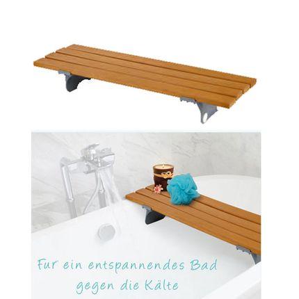 Badewannenbrett Holzoptik, Kunststoff in Holzfarbe, stabil bis 136 kg
