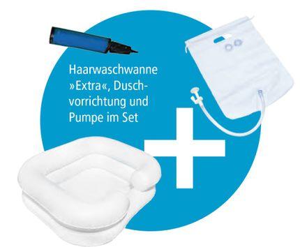 Haarwaschwannen-Set Extra, inkl. Duschvorrichtung und Pumpe, aufblasbare Haarwaschwanne, 2-reihig, mit absperrbarem Wasserablauf und Kopfmulde