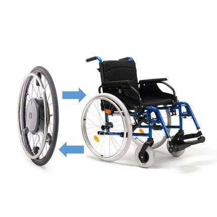 """Alber E-Motion M25 (Neu) inkl. Alu-Rollstuhl, kraftverstärkender Zusatzantrieb für Rollstühle, unterstützt Ihre Restkraft, 24""""-Rad, inkl. ECS Fernbedienung"""