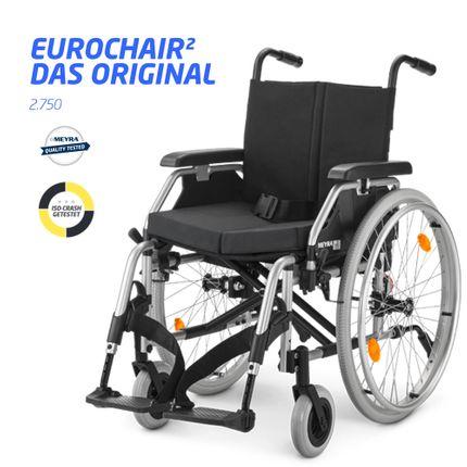 Meyra Eurochair 2 Rollstuhl Leichtgewicht inkl. Premium-Ausstattung, Sicherheitsgurt, Stützrollen, Stockhalter, Sitzkissen, bis 130kg Personengewicht