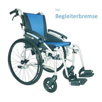 Rollstuhl G-Logic 24, blau, SB 45cm, Begleiterbremse, Gewicht nur 11.5kg, faltbar, der ideale Alu-Reise-Transport-Rollstuhl, Klapprücken, Leer-Transportgewicht nur 7.5kg