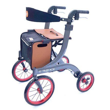 Rollator TREXX, Outdoor Alu-Gehwagen, inkl. Rückengurt, faltbar, extra große Räder, bis 130 kg belastbar, nur 7,2kg