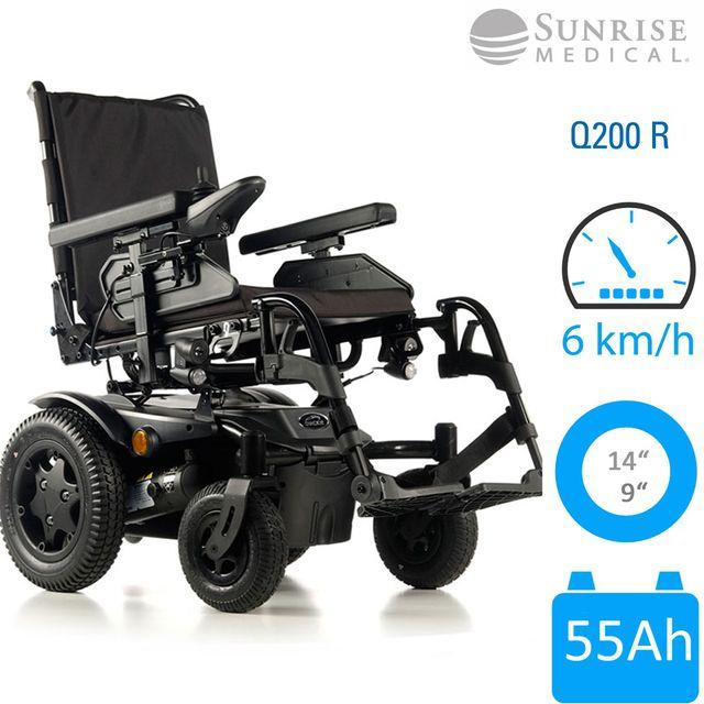 Sunrise Medical Q200 R Elektrorollstuhl mit Heckantrieb, Ultra Kompakt, schwarz, 6 km/h, bis 136 kg, neu, Akkus 55Ah wartungsfrei