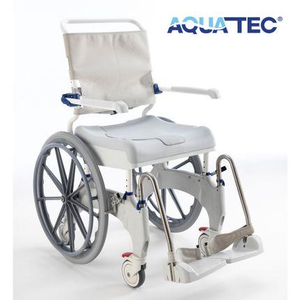 "Aquatec Ocean Ergo-24 Dusch- und Toilettenrollstuhl, 24"" Räder, Druckbremse Fahrer, Selbstfahrerversion, Feststellbremse Lenkräder, bis 150 kg"