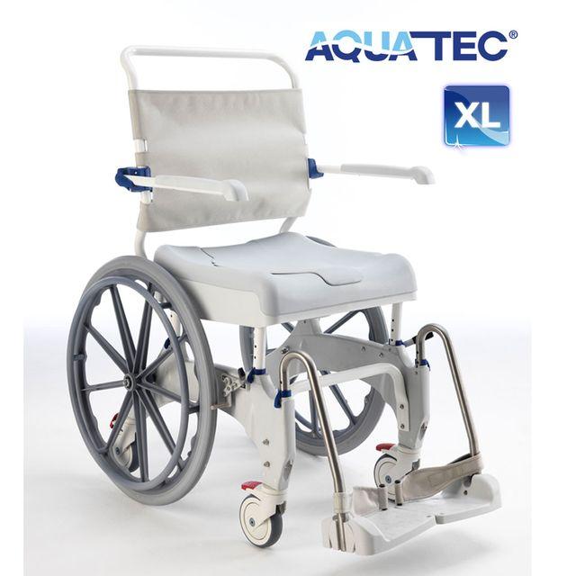"Aquatec Ocean Ergo-24 XL Dusch- und Toilettenrollstuhl, 24"" Räder, Druckbremse Fahrer, Selbstfahrerversion, Feststellbremse Lenkräder, bis 180 kg"