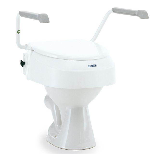 Aquatec 900 Toilettensitzerhöhung, 10cm, mit Deckel, mit Armlehnen, drei Sitzhöhen (6-10-15cm) einstelbar, neue MDR Ausführung, bis 120kg