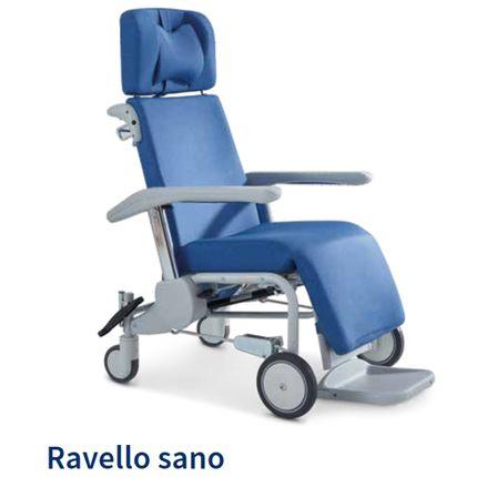 Ravello Sano-2 Pflegestuhl, 2 Lenkrollen hinten, 2 große Vorderrollen fest, Fußstütze einschiebbar, Kunstlederbezug, Ergo-Sitz, Kopfstütze, Armlehnen verstellbar, belastbar bis 200kg (statisch), bis 135 kg (dynamisch) 001