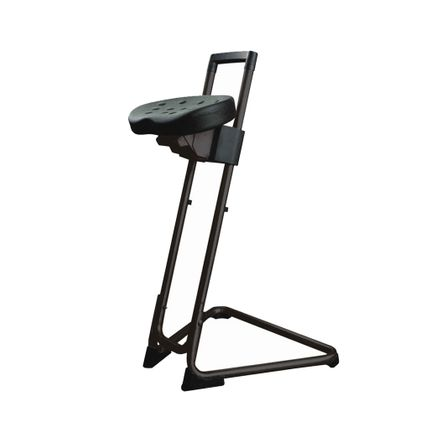Stehhilfe - die Standhafte, Gestell schwarz, sehr stabiler Stehstuhl mit Drehsitz, GS geprüft, bis 120kg