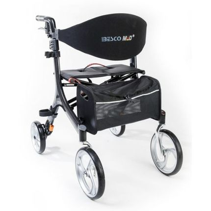 Rollator Carbon Bescomed Ultra-Leichtgewichtsrollator, mehr Komfort, mehr Sicherheit, weniger Gewicht, mit Rückengurt, Stockhalter & Ankipphilfe