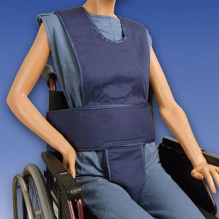 Biocare Komplett Klett, Standard blau, Sicherungssystem für Hüfte, Oberkörper & Becken, Patientensicherungsystem im Rollstuhl