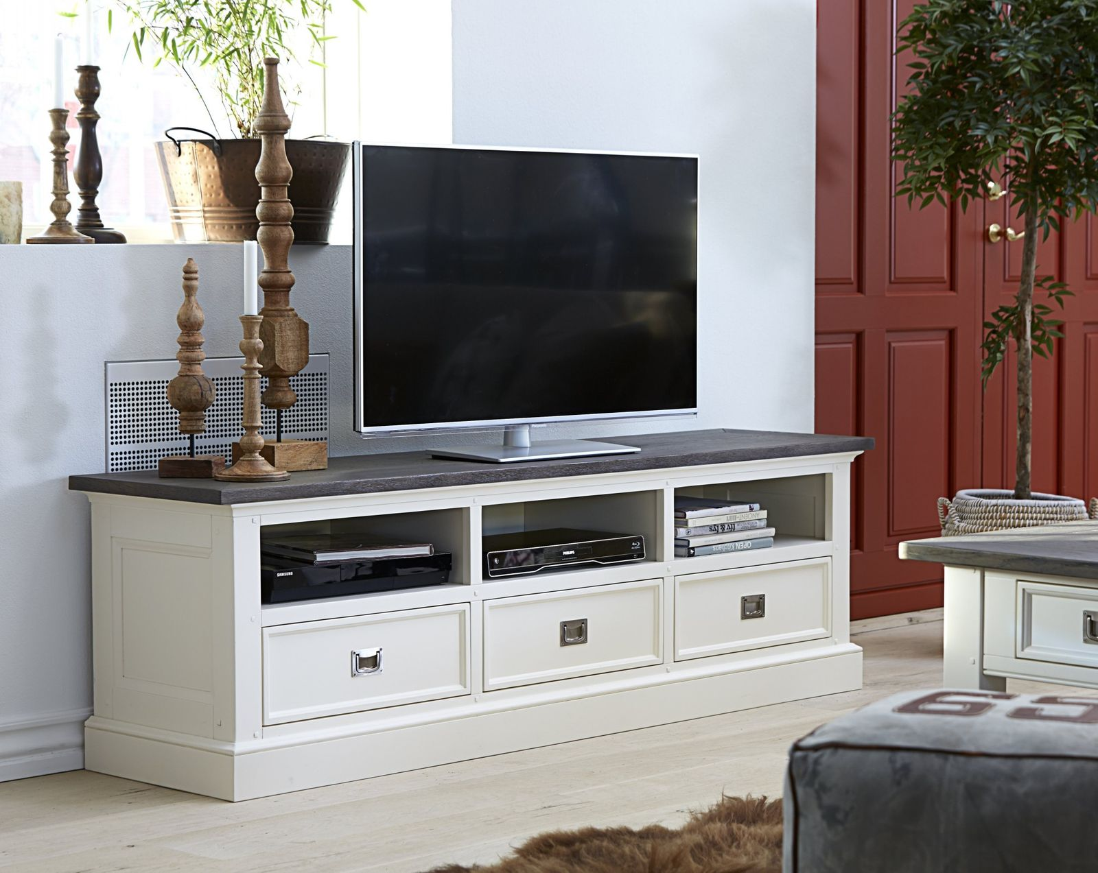 tv bank skagen 180 wei smoked. Black Bedroom Furniture Sets. Home Design Ideas