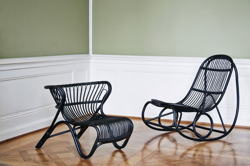 Rattan Sessel Fox schwarz - Design by Viggo Boesen
