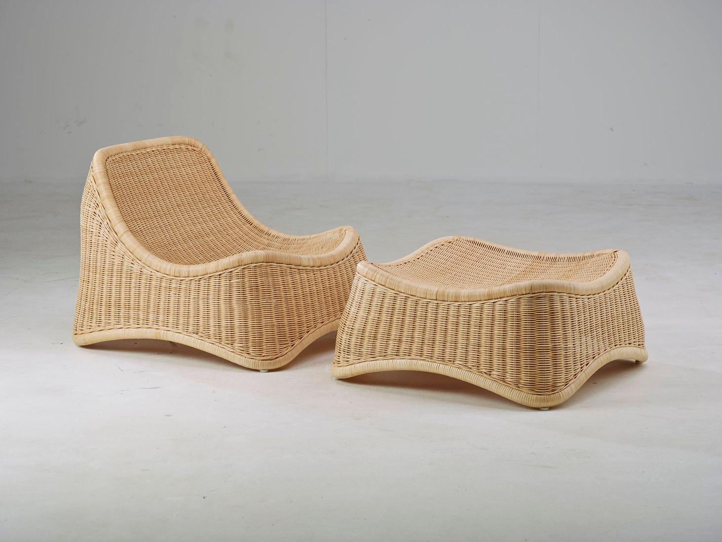 sika design outdoor rattan sessel chill mit hocker. Black Bedroom Furniture Sets. Home Design Ideas
