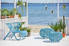 Outdoor Rattan Sessel Fox blau - Design by Viggo Boesen