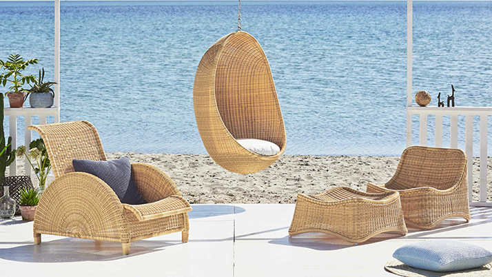 sika design outdoor rattan h ngesessel egg design by nanna ditzel. Black Bedroom Furniture Sets. Home Design Ideas