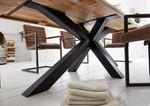 Esstisch Chicago mit Baumkante Balkeneiche Industrie-Stahl – Bild 3