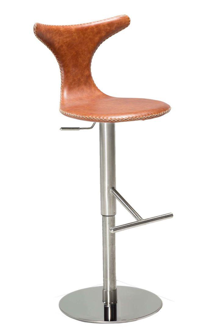 Barhocker Dolphin Leder Braun Dewall Design