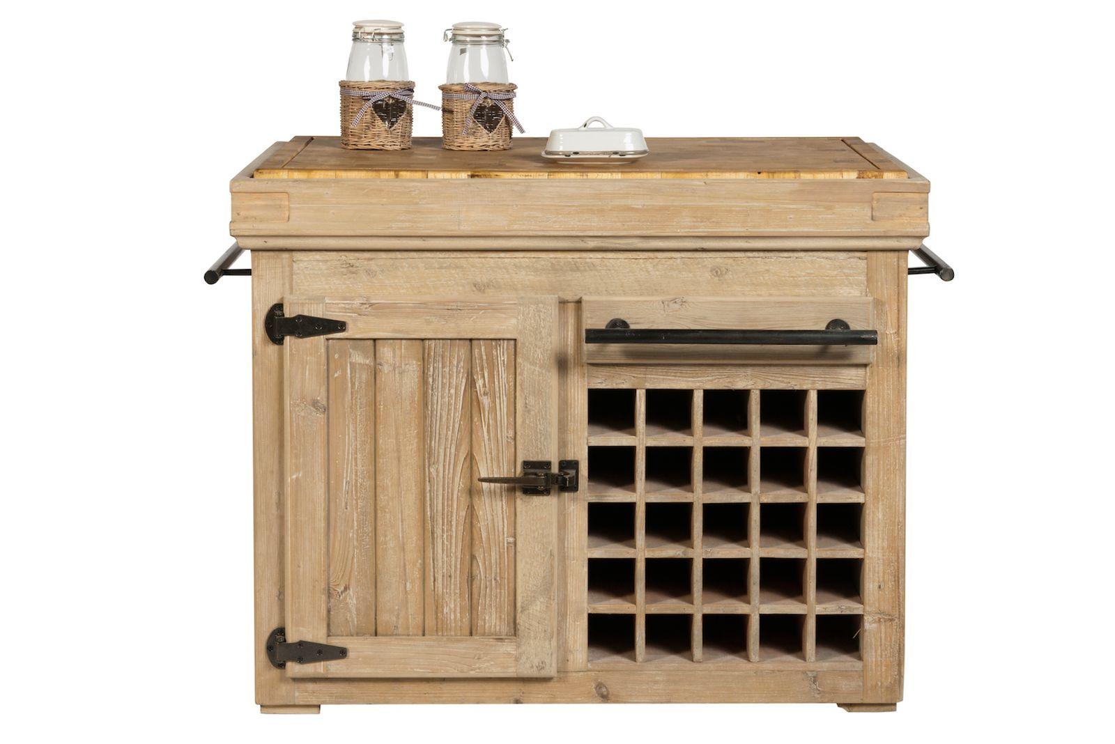Küchenblock mit 1 Tür und Weinregal