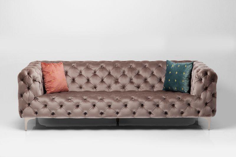 Sofa Look 230cm Velvet Grau