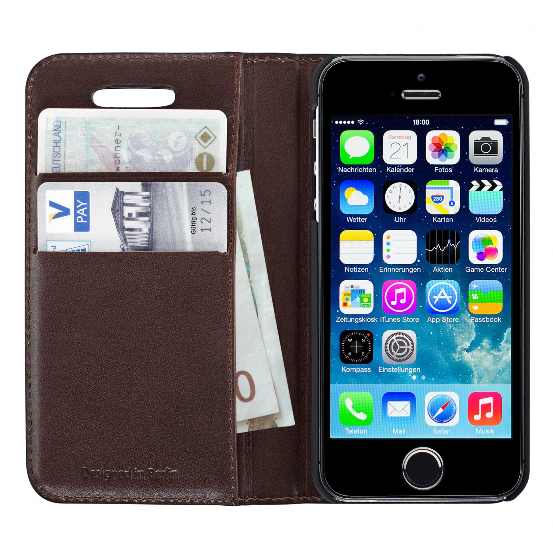 artwizz wallet leder etui schutz h lle case cover iphone 5 5s se braun b ware nvood. Black Bedroom Furniture Sets. Home Design Ideas