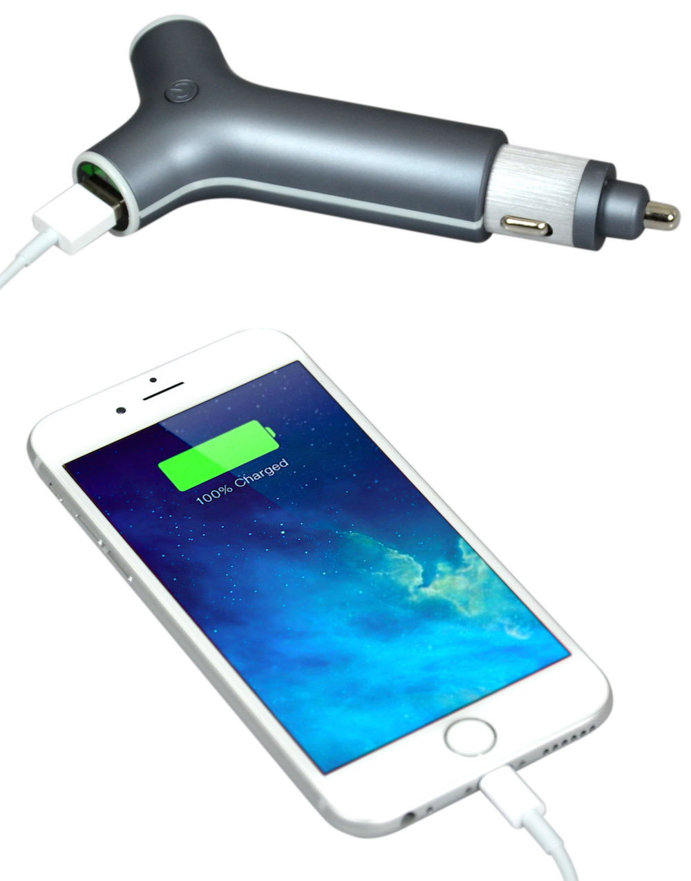 Port Designs Portable External Battery Car Charger MP3//Smartphone Travel Charger Bank for Apple iPhone//iPad//Windows//Samsung with Built-in Flashlight