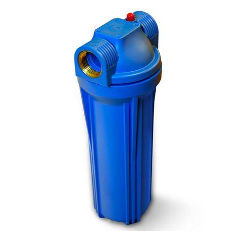"""25,4cm/10 Zoll Wasserfilter Gehäuse blau/blau, mit 1"""" IG Messing – Bild 1"""