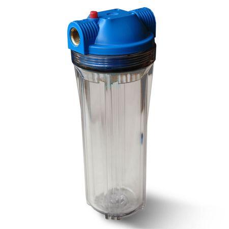 """25,4cm/10 Zoll Wasserfilter Gehäuse blau/klar mit 3/4"""" IG Messing – Bild 1"""