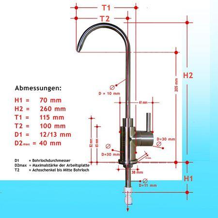 EDELSTAHL Wasserhahn Berlo für Wasserfilter und Wasserspender – Bild 4