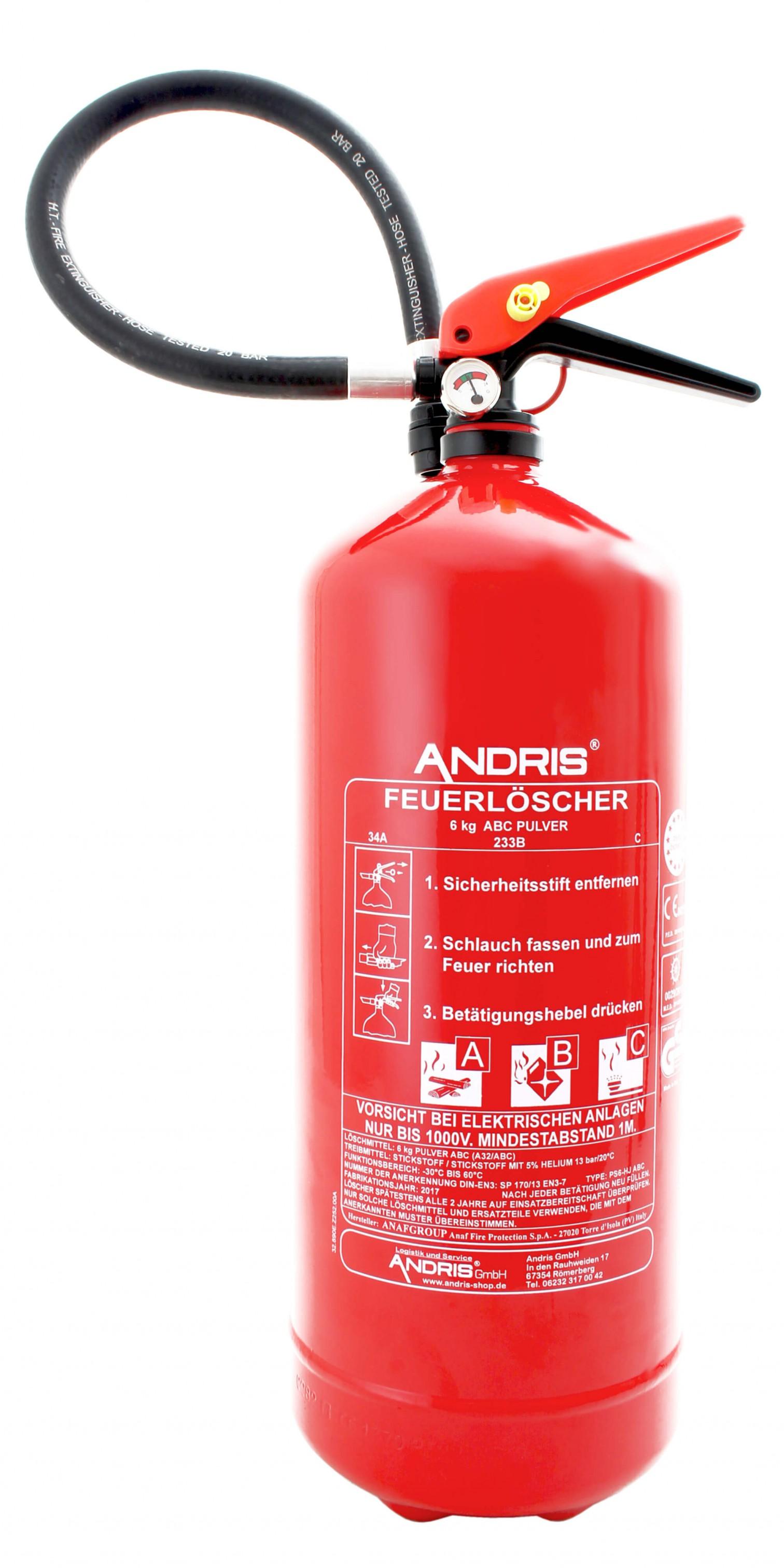 Häufig Feuerlöscher Pulver ABC 6kg orig. ANDRIS® mit Manometer EN3 XW18