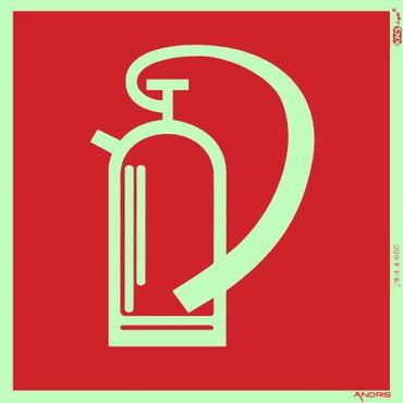 Symbolschild Feuerlöscher DIN soft Kunststoff nachleuchtend & selbstklebend 150x150mm orig. ANDRIS®