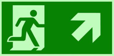 Fluchtweg / Notausgang Rettungsweg Symbol rechts oben ISO Folie nachleuchtend &. selbstklebend 300x150mm
