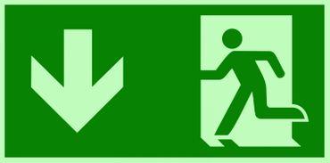 Fluchtweg / Notausgang Rettungsweg Symbol unten ISO Folie lang nachleuchtend & selbstklebend 300x150 mm orig. ANDRIS®