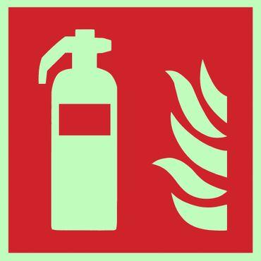 Brandschutzzeichen Symbolschild Feuerlöscher ISO Kunststoffplatte nachleuchtend 150x150mm