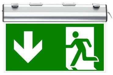 SENSO EXIT W LED Sensorit Notbeleuchtung Aluminium weiß Fluchtweg/Notausgang ISO