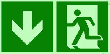 Rettungsweg unten Kombi-Symbolschild ISO Kunststoffplatte nachleuchtend &. selbstklebend orig. ANDRIS®