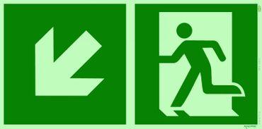 Rettungsweg links unten Kombi-Symbolschild ISO Kunststoffplatte nachleuchtend &. selbstklebend orig. ANDRIS®