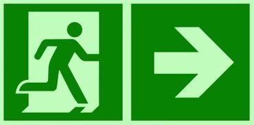 Rettungsweg rechts Kombi-Symbolschild ISO Kunststoffplatte nachleuchtend &. selbstklebend  orig. KNS®