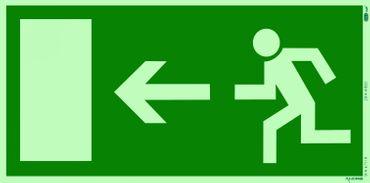 Rettungszeichen Symbolschild Fluchtweg/Notausgang links DIN light Kunststoffschild nachleuchtend &. selbstklebend 297x148mm orig. Andris®-Piktogramm