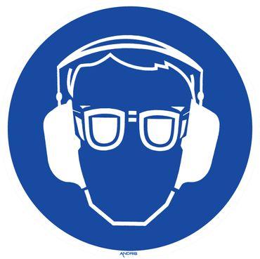 Gebotszeichen Symbolschild Gehör- und Augenschutz benutzen DIN Folie selbstklebend ∅ 200mm orig. Andris®