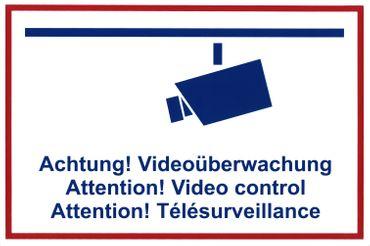 "Textschild ""Achtung Videoüberwachung"" (mehrsprachig) Kunststoffplatte 300x200mm orig. Andris®"