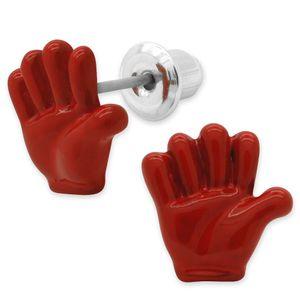 3 Paar Ohrstecker Handzeichen bunt SET – Bild 4