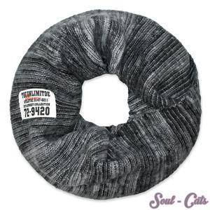 Loopschal gestrickt grau-schwarz