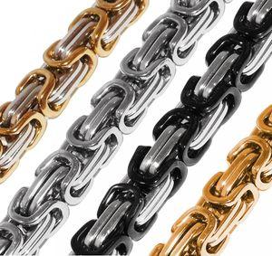 Königskette Halskette Armband Set Panzerkette Edelstahl gold silber schwarz