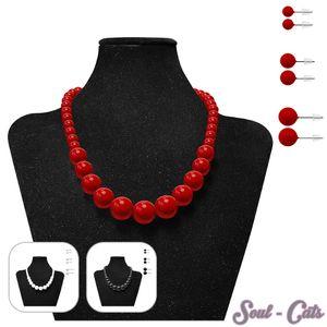 Perlenkette + 3 Paar passende Ohrstecker – Bild 1